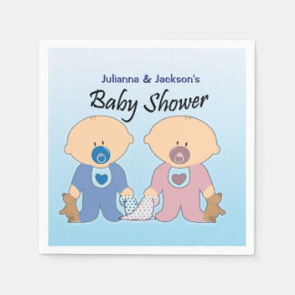 Boy and Girls Twins Baby Shower Napkins