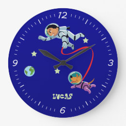 Boy and His Dog in Outer Space Large Clock