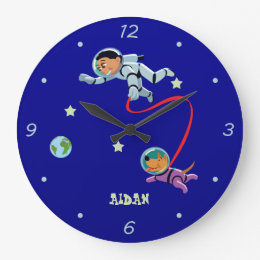 Boy and His Dog in Space Large Clock