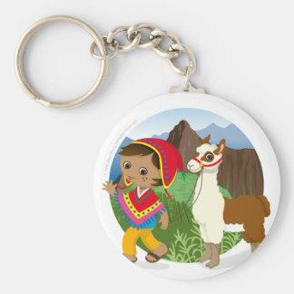 Boy and his llama basic round button keychain