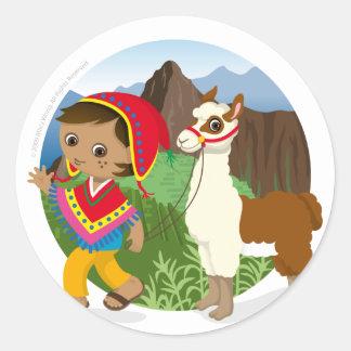 Boy and his llama classic round sticker
