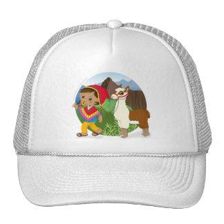Boy and his llama trucker hat