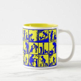 Boy and His Pet Dog Two-Tone Coffee Mug