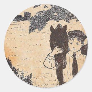 Boy and horse classic round sticker