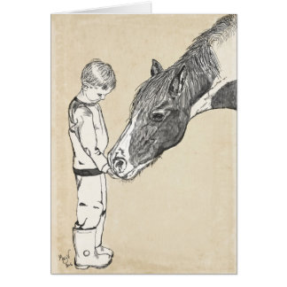 Boy and Horse Gentle Conversation Note Card