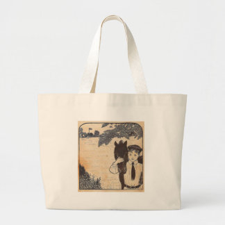 Boy and horse large tote bag