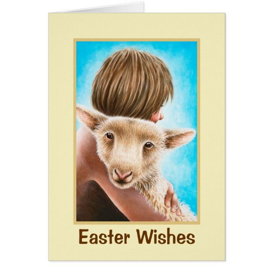 Boy and Lamb Easter Greeting Card