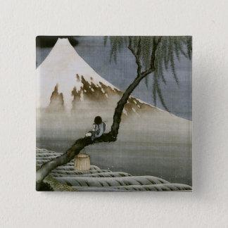 Boy and Mount Fuji Hokusai Japanese Fine Art Pinback Button