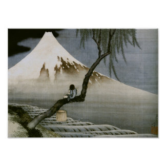 Boy and Mount Fuji Hokusai Japanese Fine Art Poster