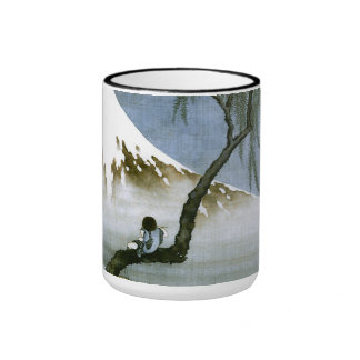 Boy and Mt.Fuji Hokusai Fine Art Ringer Mug