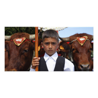 Boy and oxen card