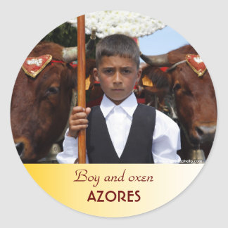 Boy and oxen classic round sticker
