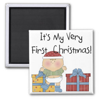 Boy and Presents 1st Christmas Tshirts and Gifts Fridge Magnets