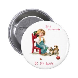 Boy and Puppy Vintage Valentine Pinback Button