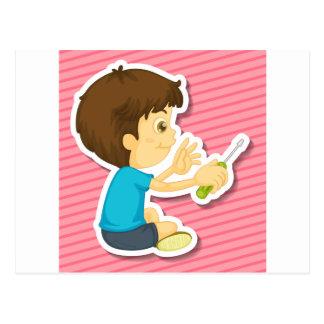 Boy and screwdriver postcard