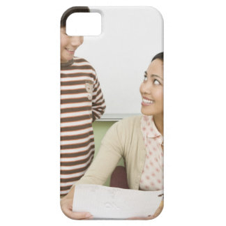 Boy and teacher at teachers desk iPhone SE/5/5s case