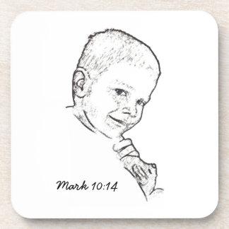 Boy and Teddy (Mark 10:14) Beverage Coasters