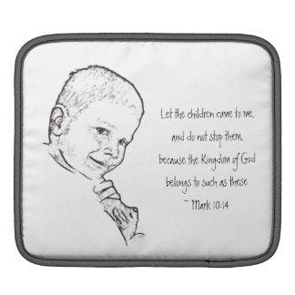 Boy and Teddy (Mark 10:14) iPad Sleeves