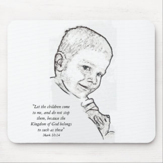 Boy and Teddy (Mark 10:14) Mouse Pad