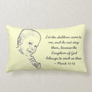 Boy and Teddy (Mark 10:14) Throw Pillows