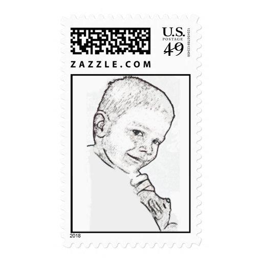 Boy and Teddy (Mark 10:14) Postage Stamp