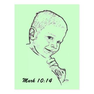 Boy and Teddy (Mark 10:14) Postcard