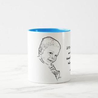 Boy and Teddy (Mark 10:14) Two-Tone Coffee Mug