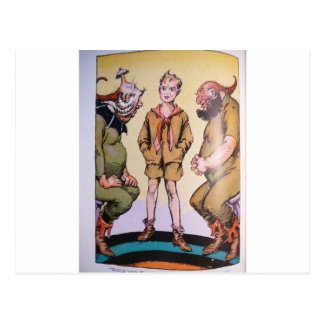 Boy and Two Characters Postcard