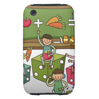 Boy and two girls sitting on dice with another tough iPhone 3 case