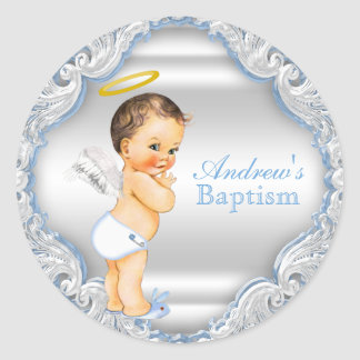 Boy Angel Baptism Christening Classic Round Sticker