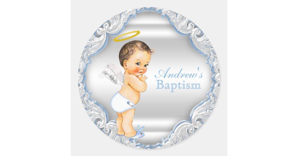 Boy Angel Baptism Christening Classic Round Sticker Zazzle