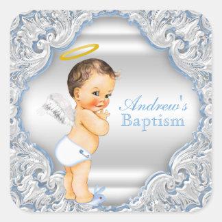 Boy Angel Baptism Christening Square Sticker