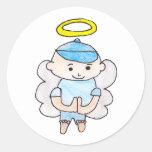 Boy Angel Classic Round Sticker