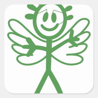 Boy Angel Square Sticker