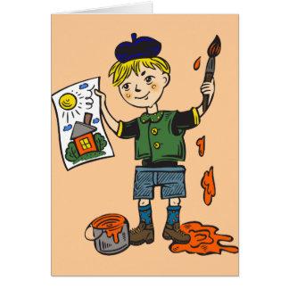 Boy Artist and Artwork 2 Card
