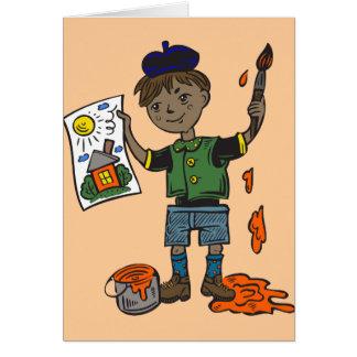 Boy Artist and Artwork Card