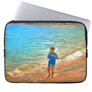 Boy at beach computer sleeves