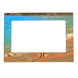 Boy at beach photo frame magnets