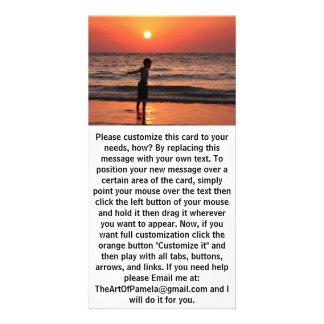 Boy at Ocean Sunset Sky Card