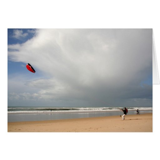 Boy at the beach kitesurfing card
