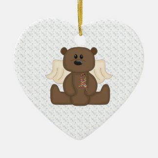 Boy Autism Awareness Bear Ceramic Ornament