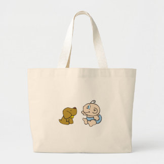Boy Baby and Dog Large Tote Bag