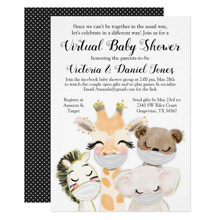 Mask Drive By Baby Shower Invitation