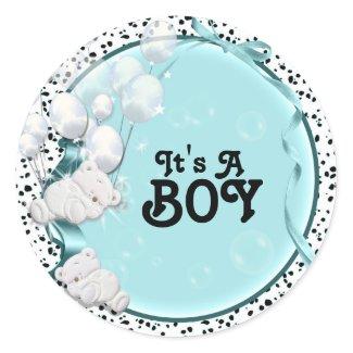 Boy baby birth announcement bear stickers