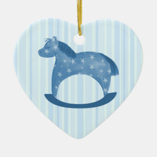 Boy Baby Blue Rocking Horse Keepsake Ornament