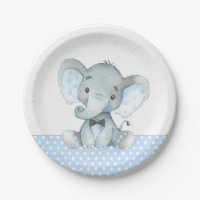 Boy Baby Elephant Baby Shower Paper Plates
