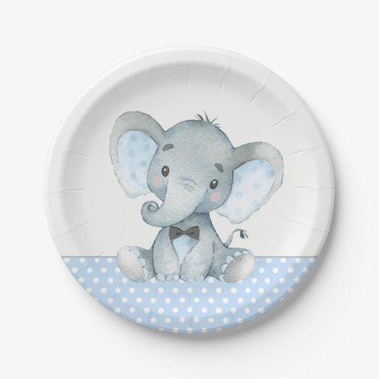 Boy Baby Elephant Baby Shower Paper Plates Zazzle