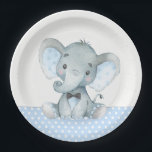 "Boy Baby Elephant Baby Shower Paper Plates<br><div class=""desc"">Cute boy baby elephant baby shower paper plates with adorable baby boy elephant wearing a black bow tie on a baby blue and gray polka dot background. You can add text to personalize these sweet boy elephant baby shower paper plates. You can also add a background color to these adorable...</div>"