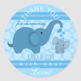 boy baby elephant baby shower sticker