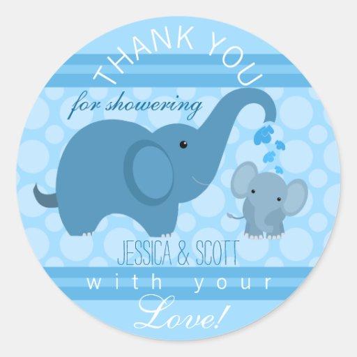 Baby Shower Elephant Stickers ~ Boy baby elephant shower sticker zazzle